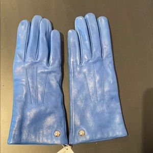 Coach blue leather gloves